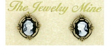 Vintage Inspired Victorian Style Cameo Button Earrings - Jet